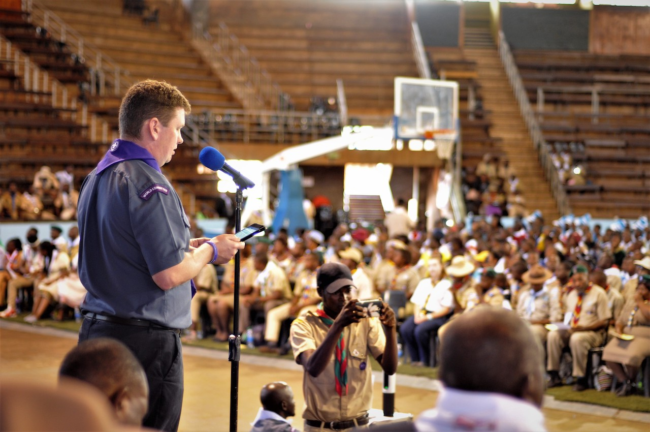 Chairperson of the World Scout Committee addressing Scouts at Africa Scout Day 2018